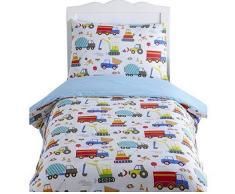 Kidz Club brillante camiones Junior funda nórdica y funda de almohada, reversible, colcha, excavadora, cemento, blanco