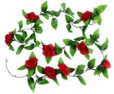 AKORD Hojas Artificiales para Colgar Plantas, plástico, Rojo, 200 x 3.7 x 5 cm