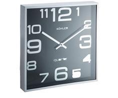 H & H F87 H & H Reloj de pared, cuadrado, 28, Negro/Plata, 29 x 29 x 5 cm