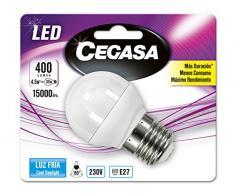 Cegasa Bombillas LED con Luz Fría 5000K E27, 4.5 W, Blanco, 78x45x44 cm