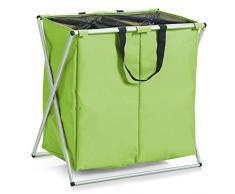 Zeller 13227 - Cesto para colada (2 compartimentos, poliéster y aluminio, 59 x 38 x 57 cm), color verde
