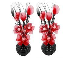 Flourish 796167 - Jarrón ovalado con flores artificiales de seda, 75 cm, vidrio, Pair of Black/Red, 10x10x32 cm
