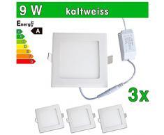 3 x LEDVero funda utlrafina Panel LED 2835 SMD 9 W cuadrado luz blanca fría luz ultrafino para techo
