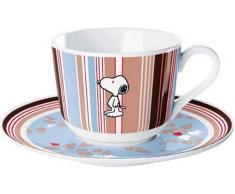United Labels 0105762 - Lo mejor de Snoopy taza de porcelana y un plato de flores Franja en la premiada caja de regalo de 200 ml [importado de Alemania]