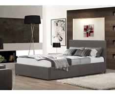 FurnitureDepot1 Juego de 3 Piezas para Dormitorio Incluye Cama otomana pequeña de Tela Gris Doble de 4 pies con colchón de Espuma viscoelástica de 15 cm y mesita de Noche de Tela Gris