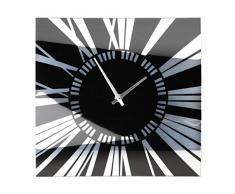 Premier Housewares - Reloj de pared (cristal efecto espejo), color negro y blanco