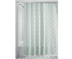 InterDesign Trellis Cortinas de baño de tela | Cortina de ducha para bañera y ducha con estampado enrejado | Cortina de baño de 183 cm x 183 cm | Poliéster menta
