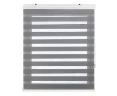 Blindecor Vela - Estor enrollable doble tejido, noche y día, color gris, 120 x 180 cm
