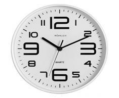 H & H 9843 H & H Reloj de pared, redondo, 25, blanco/negro, 1 x 1 x 1 cm
