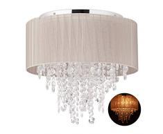 Relaxdays Lámpara de techo de cristal, 25 W, Gris & Plateado, 1 Ud