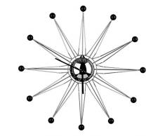 Premier Housewares - Reloj de pared (metal), color negro