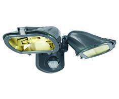 Smartwares 10.031.66 Doble Foco halógeno con Sensor Exterior de 2x120W Incluye 2250ml Negro ES128T/2, Gris