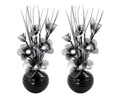 Flourish 796167 - Jarrón ovalado con flores artificiales de seda, 75 cm, vidrio, negro/blanco, 10x10x32 cm