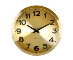 Karlsson Gold Station - Reloj de pared, aluminio, movimiento silencioso