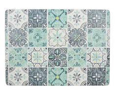 Creative Tops - Manteles Individuales rectangulares con Reverso de Corcho, diseño de azulejo Verde, Multicolor, 40 x 29 cm