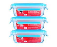Zyliss ZE981044 Juego de 3 cajas rectangulares de almacenamiento de vidrio, azul, 17, 5 x 12 x 5.9 cm - 3 x 500 ml