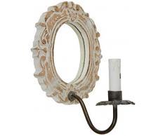 Better & Best Blanco Aplique (lámpara de Pared) con candelabro, con Placa de Espejo Ovalado, Color decapado, Medidas 21x26x22 cm, Material: Madera/Cristal/Metal