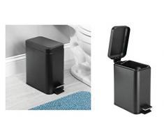 InterDesign Basic Bote para Basura, Papelera con Pedal y Tapa en plástico y Metal para Cocina y Cuarto de Baño, Negro Mate