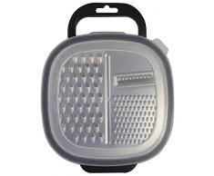 Fackelmann 40906 - Rallador rectangular con recipiente, 25 x 19 x 6 cm, Sybaris, (color: blanco semitransparente y gris), cantidad: 1 unidad, acero inoxidable