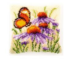 Vervaco - Cojín de ganchillo, diseño de equinácea y mariposa, multicolor