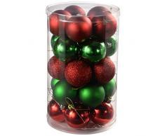 WeRChristmas - Juego de bolas para árbol de Navidad (25 unidades), color verde y rojo