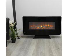 Classic Fire Calgary - Chimenea eléctrica (1400 W, con Fuego simulado y Mando a Distancia, Efecto de Fuego, Chimenea de Pared, Chimenea eléctrica, Metal, Cristal), Color Negro