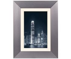 ZEP AL6G2 - Marco de Fotos (Aluminio, con Adaptador para Todos los formatos), Plateado Oscuro, 13 x 18/9 x 13 cm