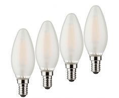Müller-Licht – 400025 a + +, 7er Juego de Retro de bombilla LED Forma de Vela sustituye a 25 W, cristal, E14, color blanco, 3.5 x 3.5 x 9.8 cm