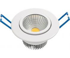 Garza Lighting - Foco Downlight LED empotrable COB direccionable, blanco, luz cálida 3000K