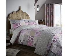 Catherine Lansfield Ethnic Floral Patchwork Juego Funda Nórdica, 100% algodón, rosa, Alla Francese, 250 x 200 x 1 cm