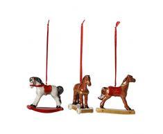 Villeroy & Boch Nostalgic Ornaments Adornos de Navidad Caballito balancín, Juego de 3 Piezas, Porcelana, Colorido
