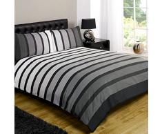 Just Contempo - Juego de funda nórdica y dos fundas de almohada, diseño de líneas, color negro, gris y blanco, polialgodón, negro/gris, cama individual (single)