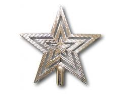 Urban Design Estrella Punta Estrella para árbol de Navidad árbol de Navidad Brillante Brillo 19 cm (Plata)