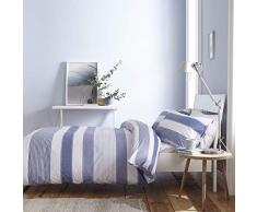 Catherine Lansfield New Quay Stripe Nórdica + Funda de Almohada, Cotton, Azul, 135x200+80x80, 2