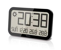 Oregon Scientific JW108 - Reloj de Pared Inalámbrico con Pronóstico del Tiempo, Termómetro y Sensor remoto, negro