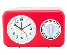 FISURA Vintage - Reloj despertador y avisador de cocina, color rojo