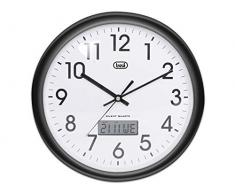 Trevi OM 3309 - Reloj de pared analógico con calendario digital y maquinaria de cuarzo de funcionamiento silencioso - Color negro