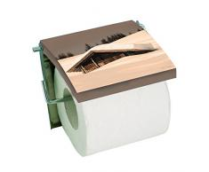 MSV Cottage-Chalet Sepia Portarrollos de Papel higiénico, Acero Inoxidable, Multicolor, 17,5x3x19,5 cm