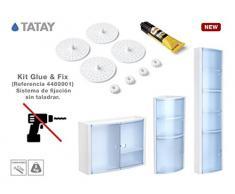 TATAY Glue & Fix Kit Armarios de Baño, Plástico y ABS, Blanco, 11x3x19.5 cm