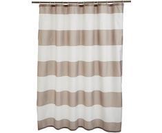AmazonBasics - Cortina de ducha de tejido estampado (180 x 200 cm), diseño de rayas grises