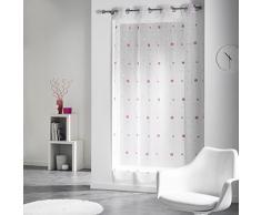 Douceur d Interieur 140 x 240 cm gasa Jacquard Yoyo anillos de cortina, color rosa
