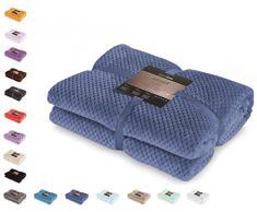 DecoKing Manta Microfibra, diseño escandinavo, Suave y cálida, Color Azul Oscuro, 200x 150cm