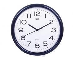 Trevi OM 3301 - Reloj de pared silencioso de 25,5 cm de diámetro con maquinaria de cuarzo, color negro