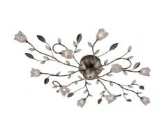 Firstlight Cindy - Lámpara de techo con 10 luces de cristal (halógenos de cápsula, 20 W, 12 V), diseño de flores y hojas, color latón envejecido