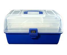 Lunar Box Caja de 3 bandejas, Manualidades y Costura, Compartimentos Ajustables, (Azul), 3 Tray