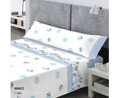 Pasata Mako Juego de Cama, Algodón-Poliéster, Azul, 135x200x27 cm