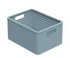 Rotho Eco Country Caja de Almacenamiento de 18 L, Plástico (PP), Azul, 18 Liter (36,8 x 27,8 x 19,1 cm)