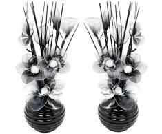 A juego Par de flores artificiales en jarrón, decoraciones de mesa, accesorios para el hogar, regalos, adornos, altura 32cm, vidrio, Black/White in Black Vase, 11.5 x 11 x 32 cm