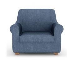 PETTI Artigiani Italiani Sofa, Elástica para Sofá, Tejido Jacquard, 100% Made in Italy, Tela, Azul, Funda Sillon (85 a 110 cm)