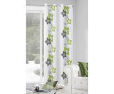 Zas Eurofirany/Glory/B + cortina de objetivo Glory con motivos florales, 140 x 250 cm, verde